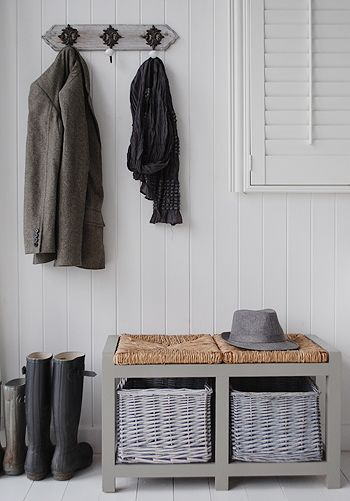 hall furniture, grey storage bench and regency coat hooks | hall, Moderne deko
