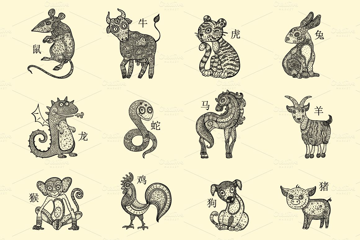 Chinese zodiac chinese zodiac and zodiac chinese zodiac by katyau on creative market buycottarizona Image collections