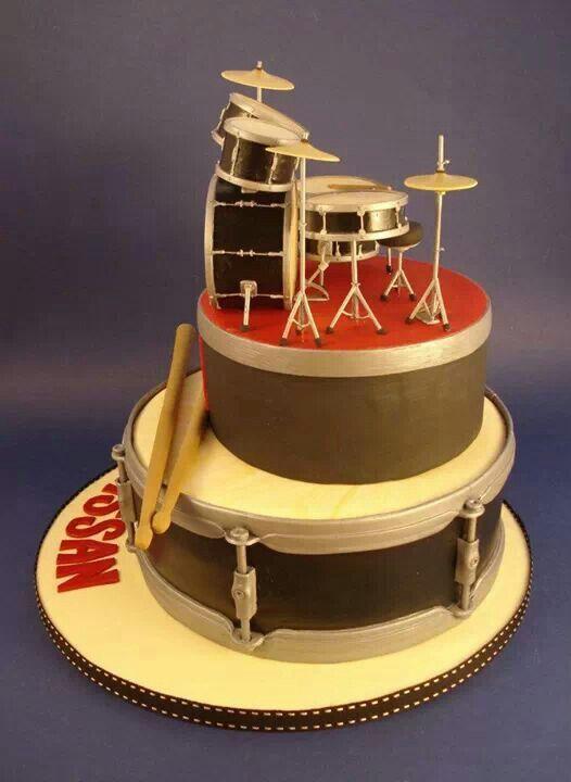 Cake Decorating Drum Kit : Drum set fondant cake MUSIC Fondant Cake Pinterest ...