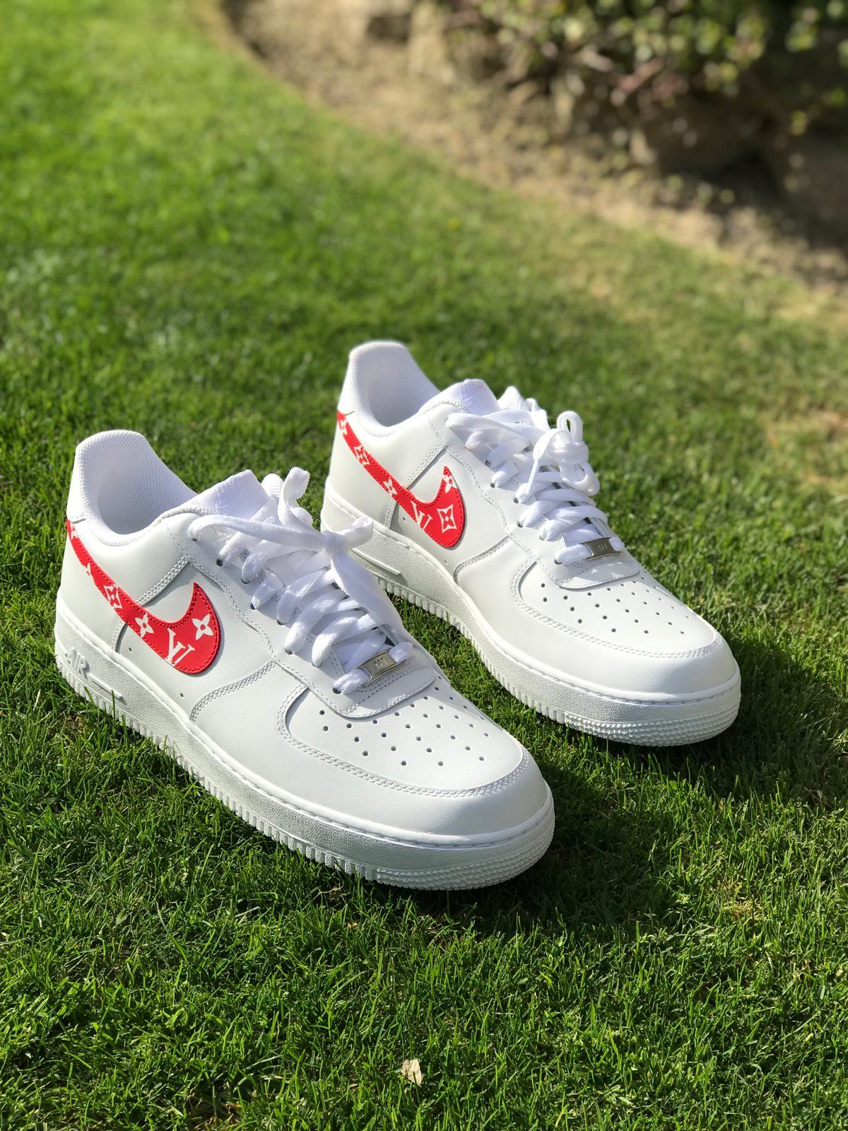 "Image of ""Red LV"" Airforce 1 lows 🎒 Custom nike shoes"