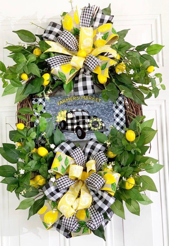 Lemon Wreath Lemon Truck Wreath Farmhouse Wreath Lemon Decor Truck Decor Everday Wreath