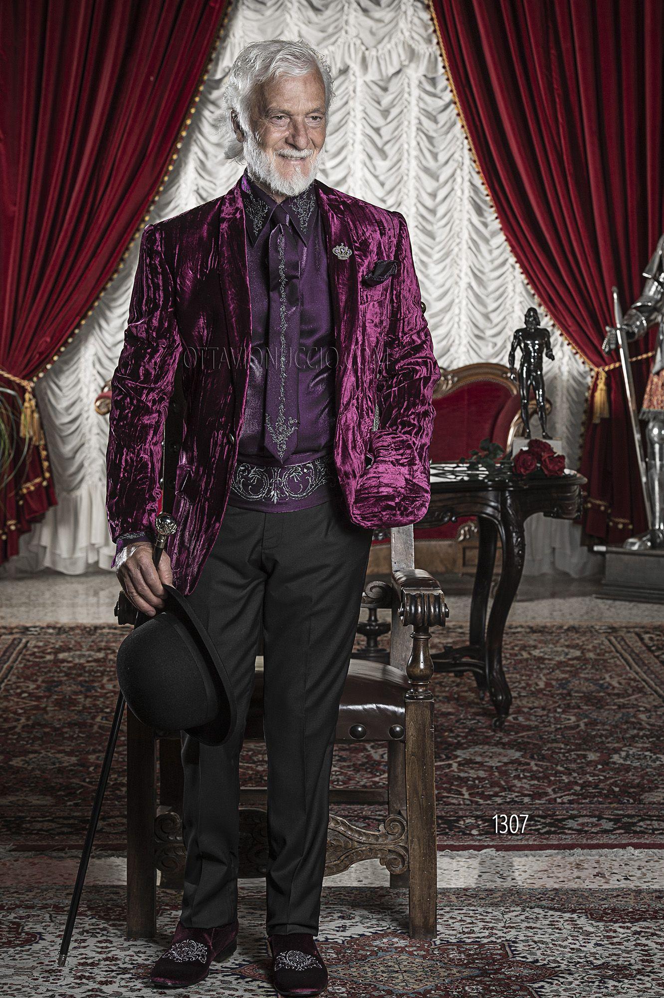 Abito da cerimonia uomo con giacca in velluto stropicciato viola ... 32521227bc6