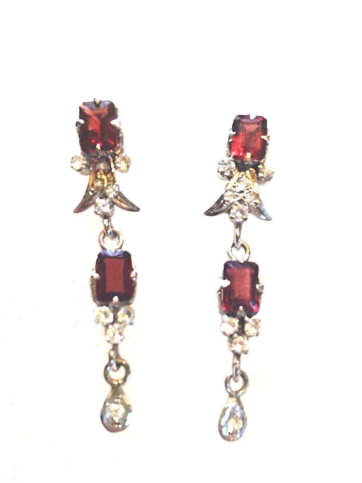 Vintage filigree genuine garnet and crystal sterling silver