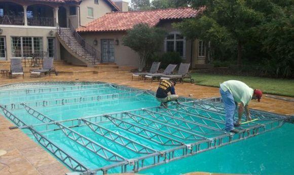Installation of acrylic dance floor over pool | Wedded bliss ...