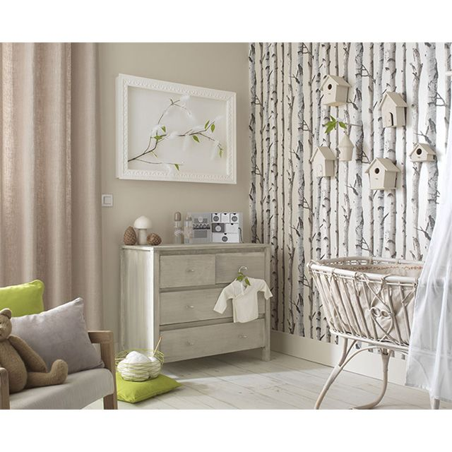 papier peint bouleau beige nacr castorama chambre. Black Bedroom Furniture Sets. Home Design Ideas