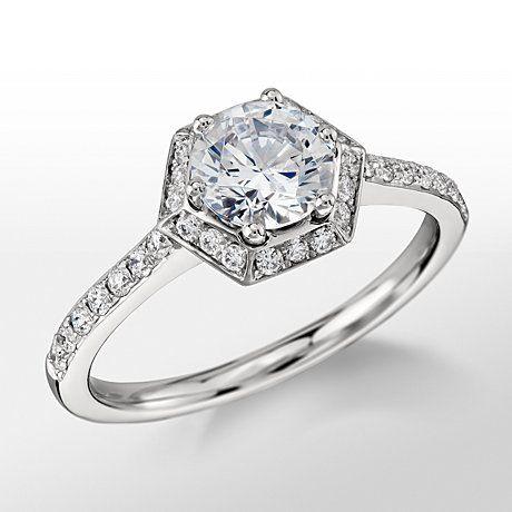 Monique Lhuillier Platinum Hexagon Halo Engagement Ring