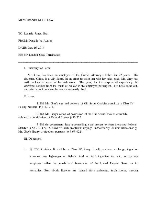 Memo Of Law Example Memorandum Memo Examples Memo Template