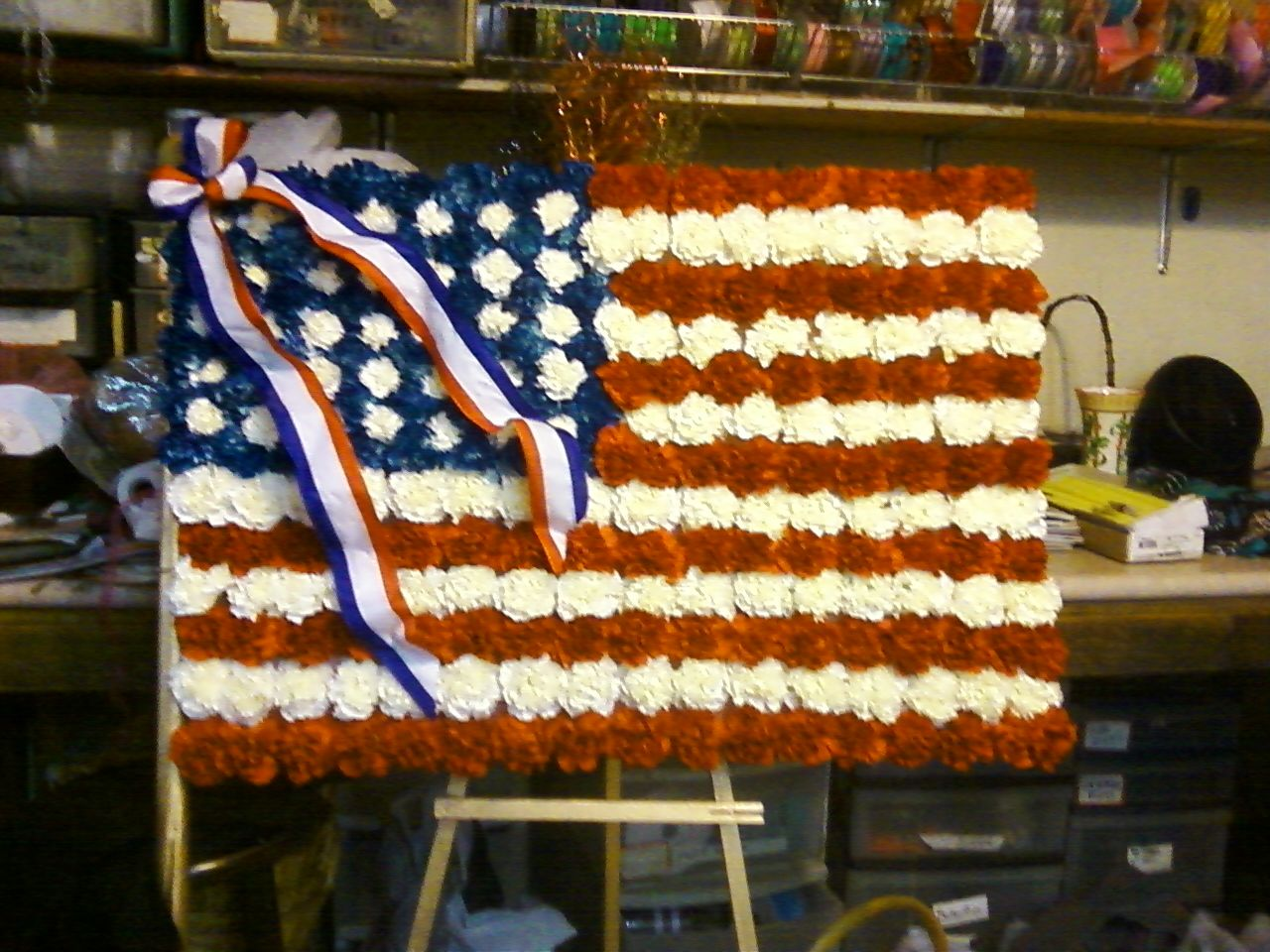 Floral flag made with carnations for vets funeral