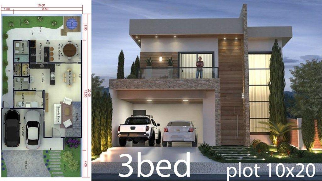 3 Bedrooms Home Design 10x20 Meters Home Design With Plan House Design Modern House Plans Home Design Plan