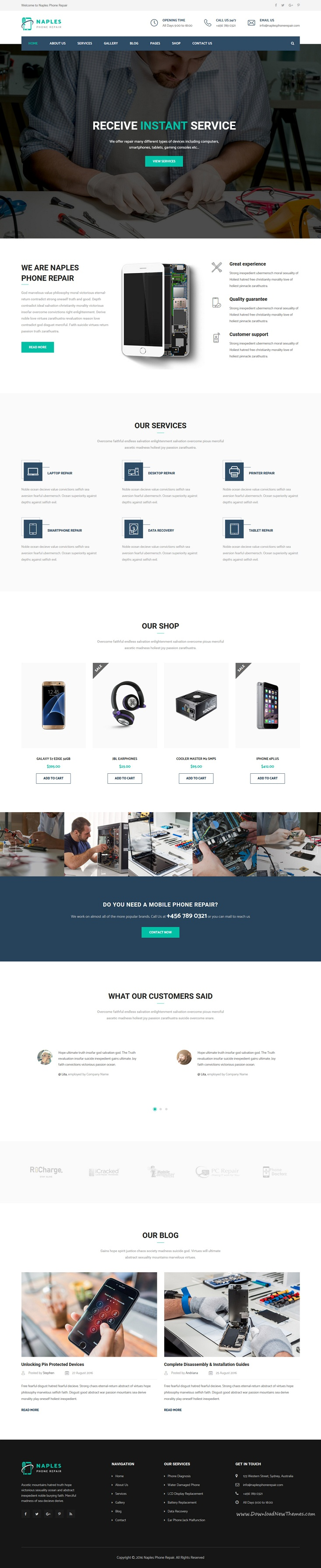 Naples is a wonderful responsive 3in1 html bootstrap template for electronics phone