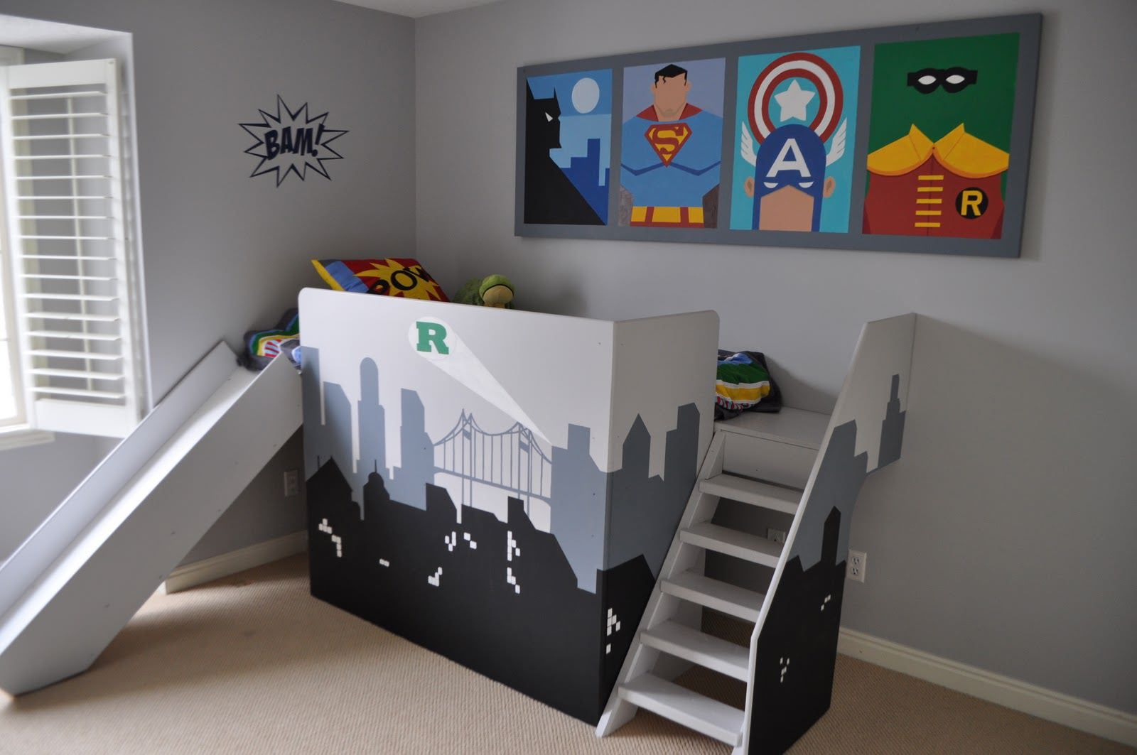 Brilliant Inspire Little Boys Room Decor Idea Cool Superhero Theme Decoration Featuring Gray Wall Paint And Super Hero Hanging