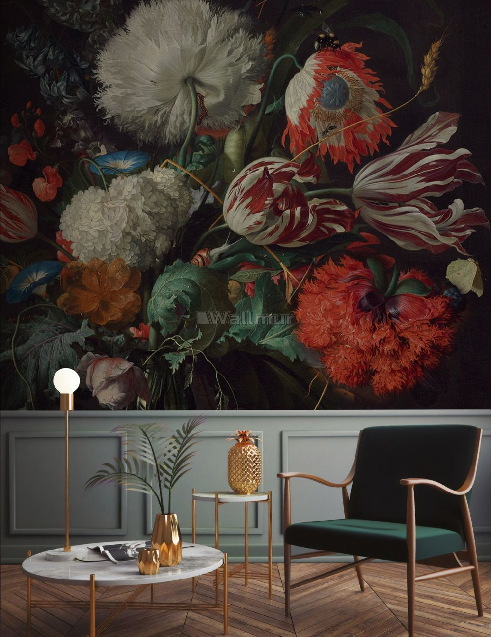Dark Floral Bouqet with Tulips Wallpaper Mural in 2020