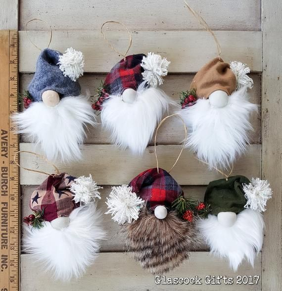 Pick 2 - Woodland Christmas Gnome Pine Cone Ornaments - Multiple Beard & Cap Design Options #christmasornaments