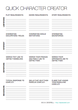 Character Creation (Writing Worksheet Wednesday) | Writing Resources ...