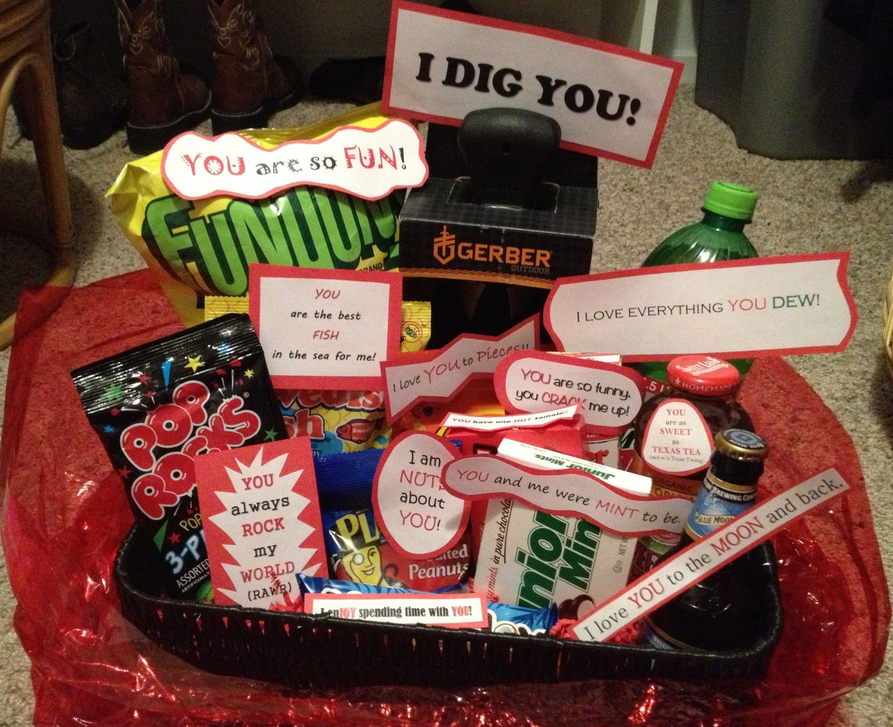 Valentines gift basket full of puns my creations pinterest valentines gift basket full of puns negle Image collections
