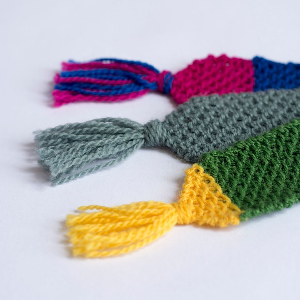 Set of 3 Handmade Multi-colour Knit Bookmarks // Gifts for ...