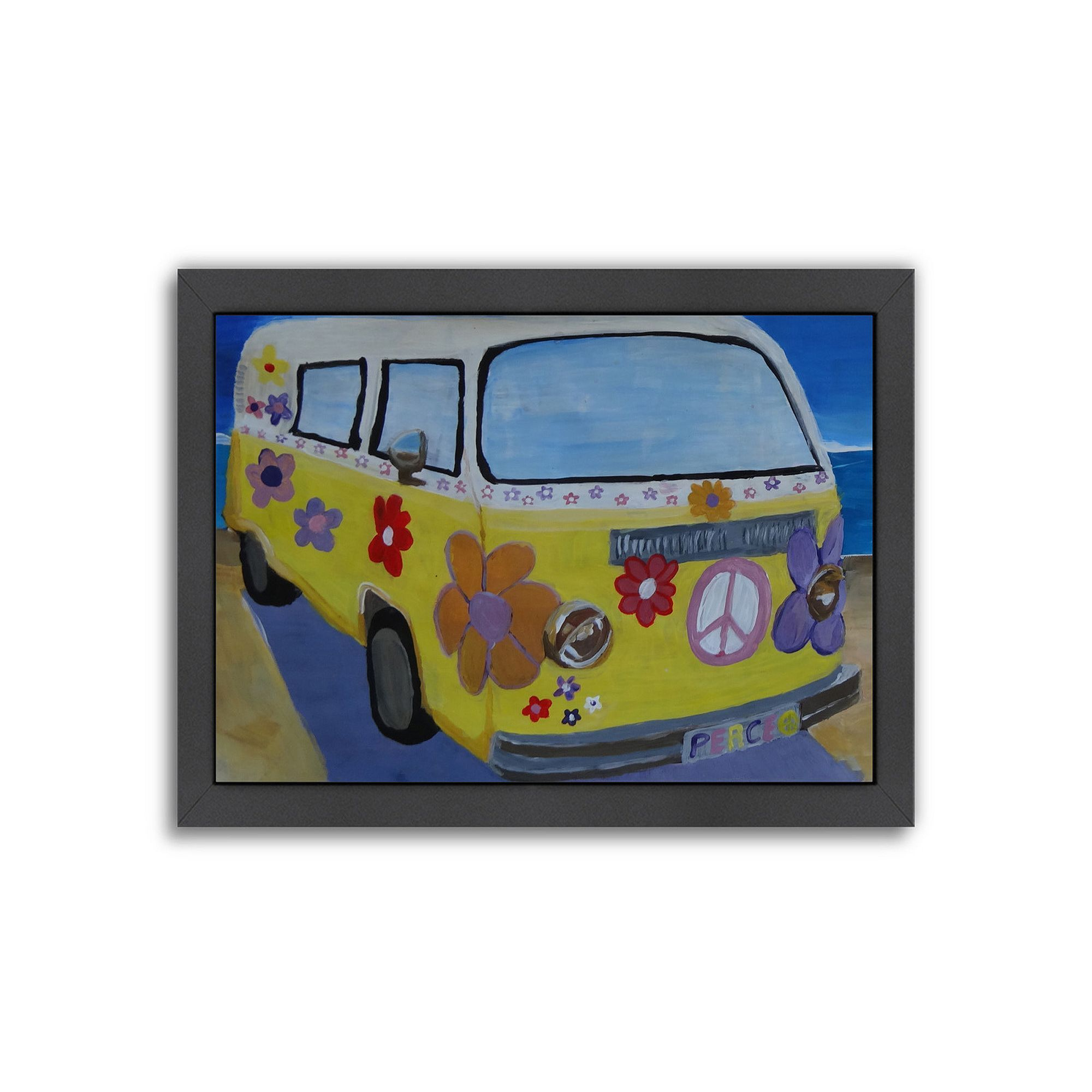 Americanflat The Lady Flower Power Surf Bus Framed Wall Art