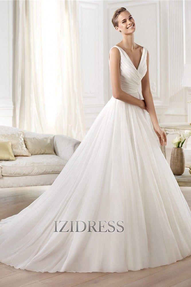 A-Line/Princess Straps V-neck Organza Wedding Dress - IZIDRESSBUY ...