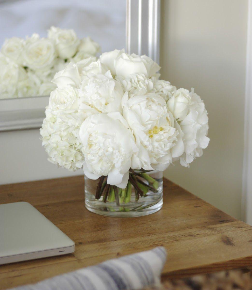 Tout De Blanc Pivoines Roses Hydranges Fleurs Plantes