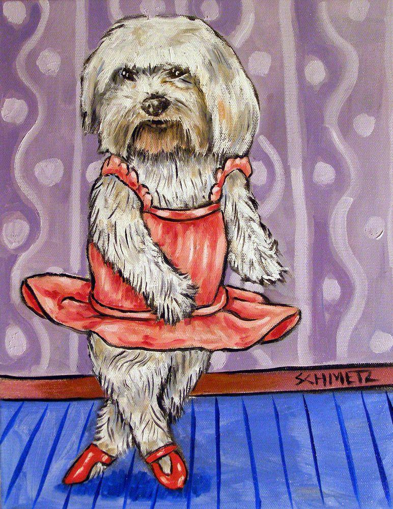 modern folk Maltese dog dog art GLOSSY PRINT poster gift 4x6 WINE art