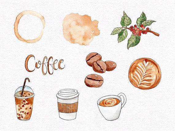 Watercolor Coffee Clipart Coffee Clipart Cute Coffee ...