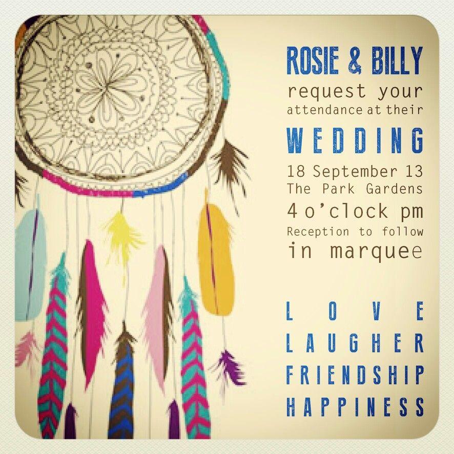 Native American Wedding Invitations: AMANDA RILEY CREATIVE Dreamcatcher Wedding Invitation
