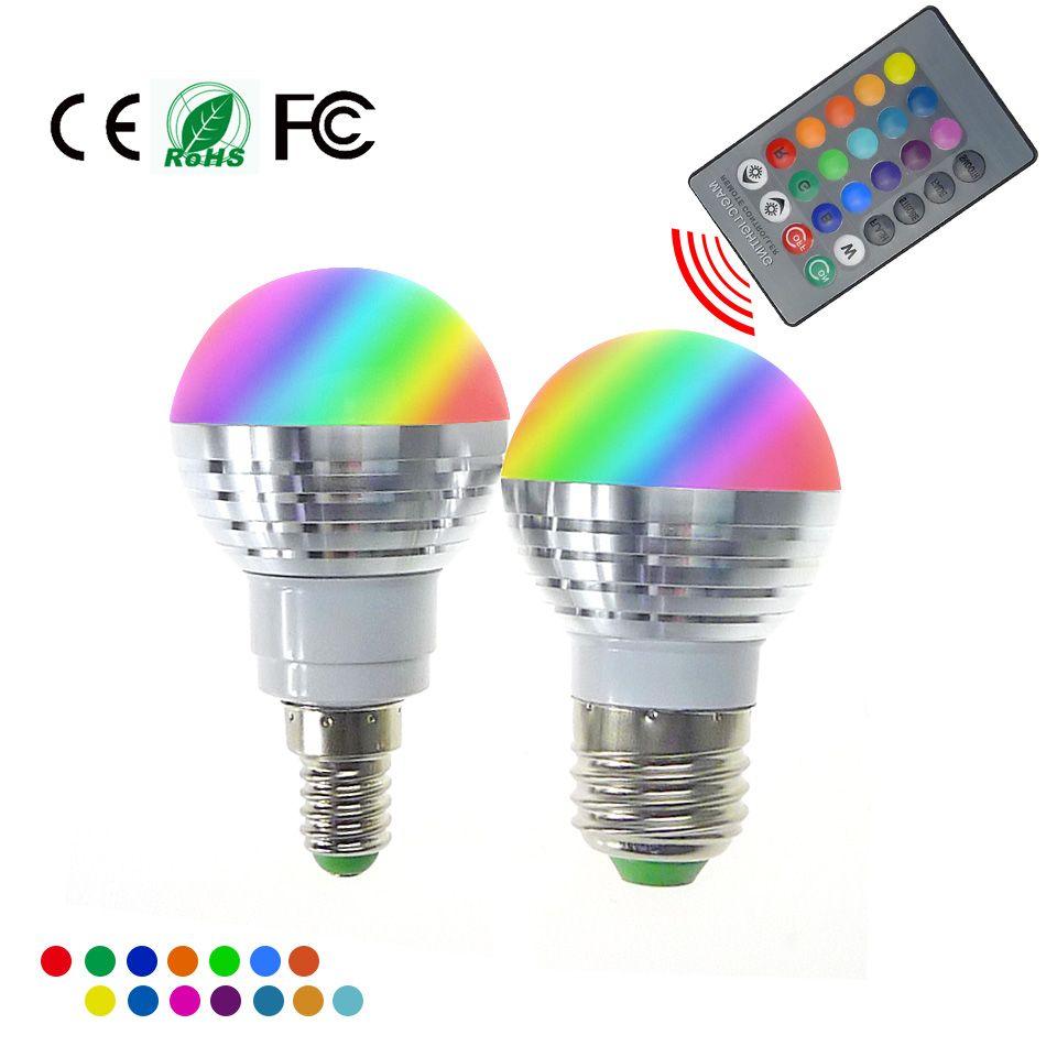 Zarowka Led Rgb Lampa E27 E14 Ac85 265v 5 W Led Rgb Spot Blubs Swiatla Magiczne Oswietlenie Wakacje Rgb Pilot Na Podczerwien Bulb Light Bulb Lamp Light Magic
