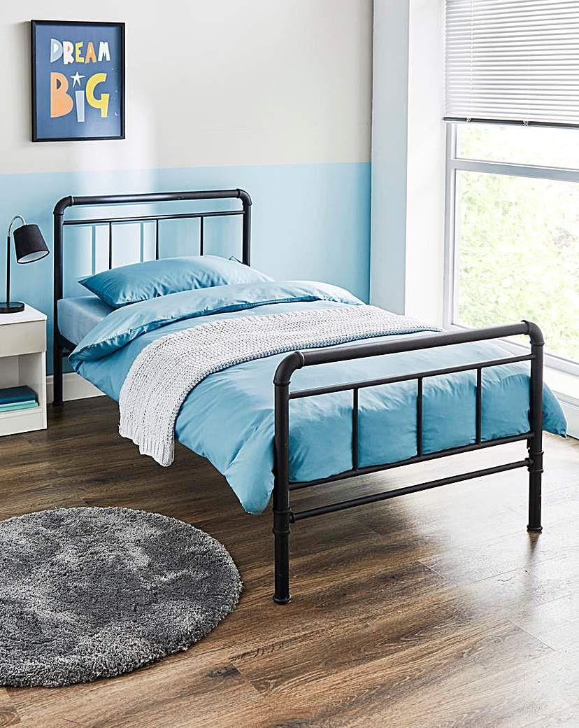 Jd Williams Bowen Industrial Metal Bed Frame Black In 2021 Metal Bed Frame Bed Frame Metal Beds
