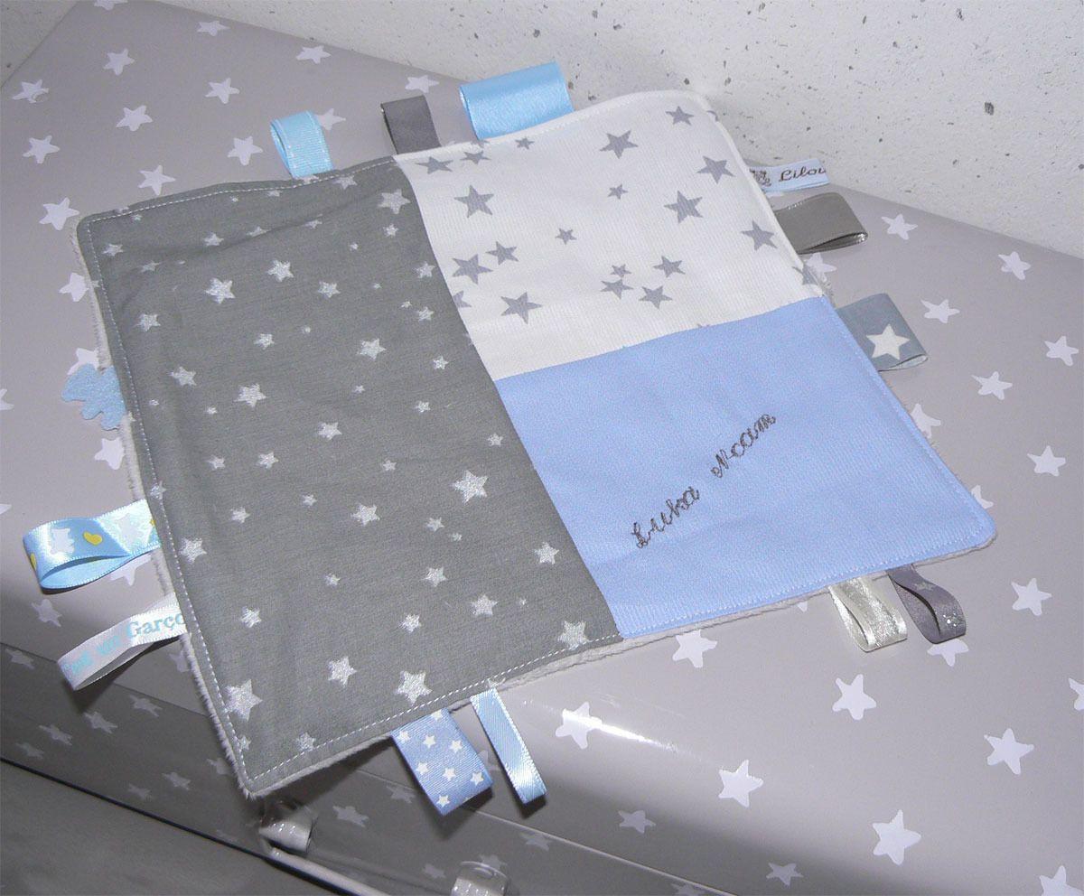 Doudou étiquettes gris argent / bleu ciel personnalisable avec prénom : Jeux, peluches, doudous par lilouetpuce