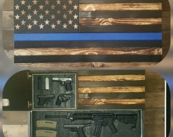 a921b6617a55 Large Burnt American Red White and Blue Concealed Weapon Flag Cabinet
