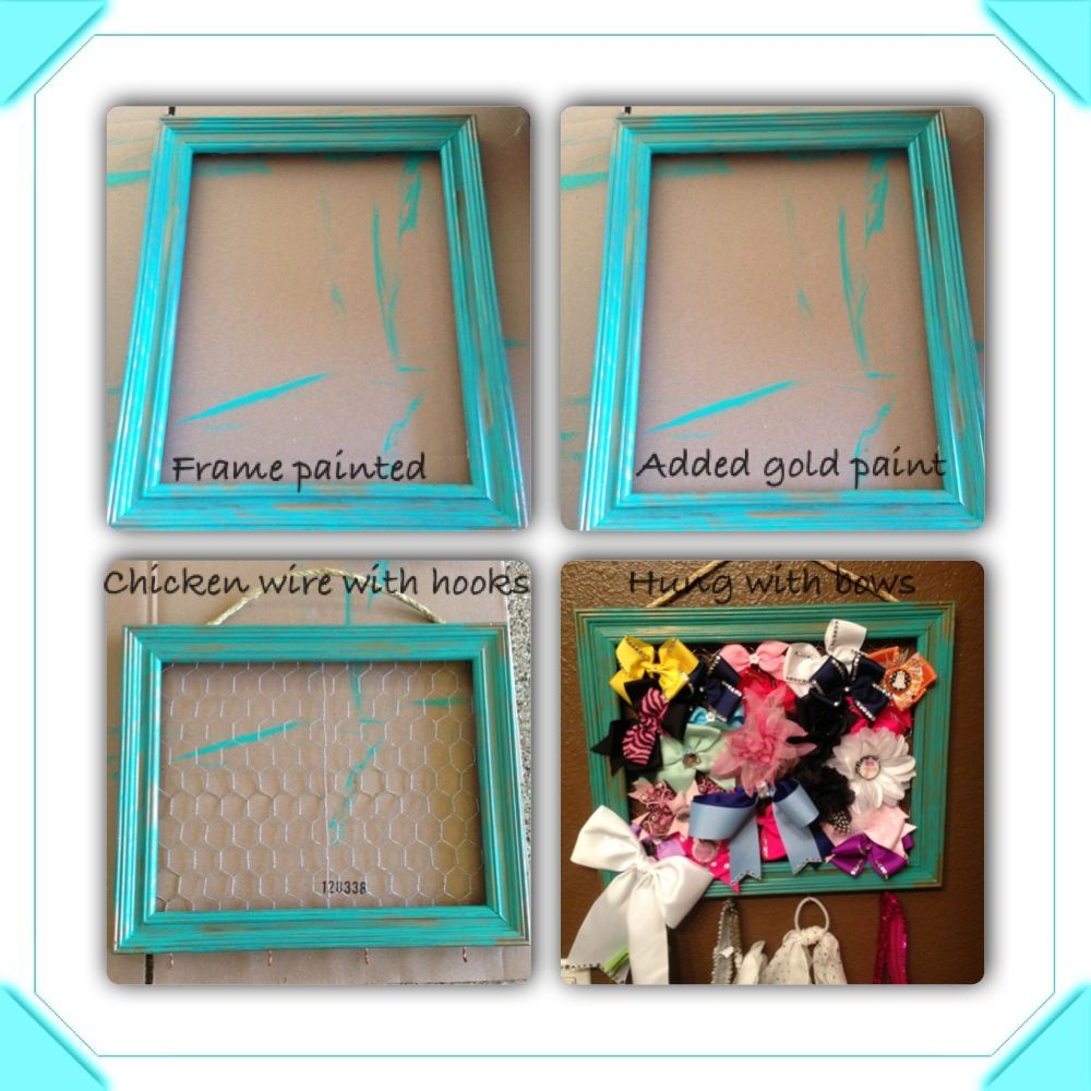 Old frame and chicken wire bow holder things i have done old frame and chicken wire bow holder jeuxipadfo Image collections