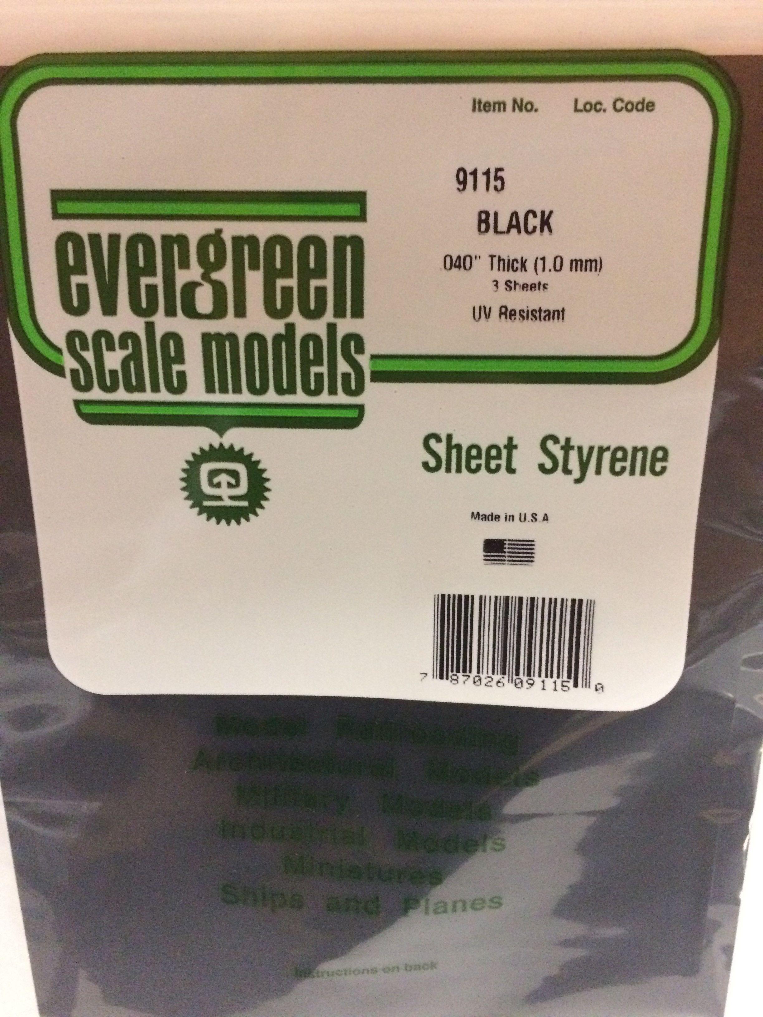 9515 040 1 0mm Plain Opaque Black Polystyrene Sheet Styrene Sheets Styrene Plastic Evergreen