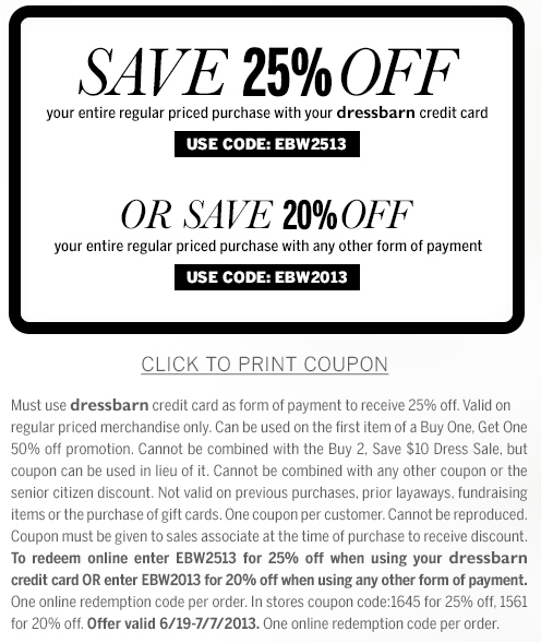 photo relating to Dress Barn Printable Coupon identify printable Dressbarn coupon for 25% off finish monthly priced