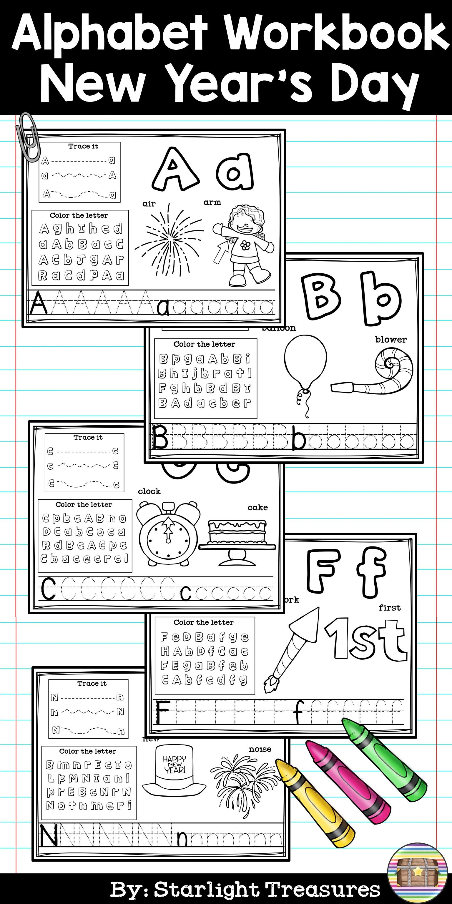 Alphabet Workbook Worksheets A Z New Year S Day
