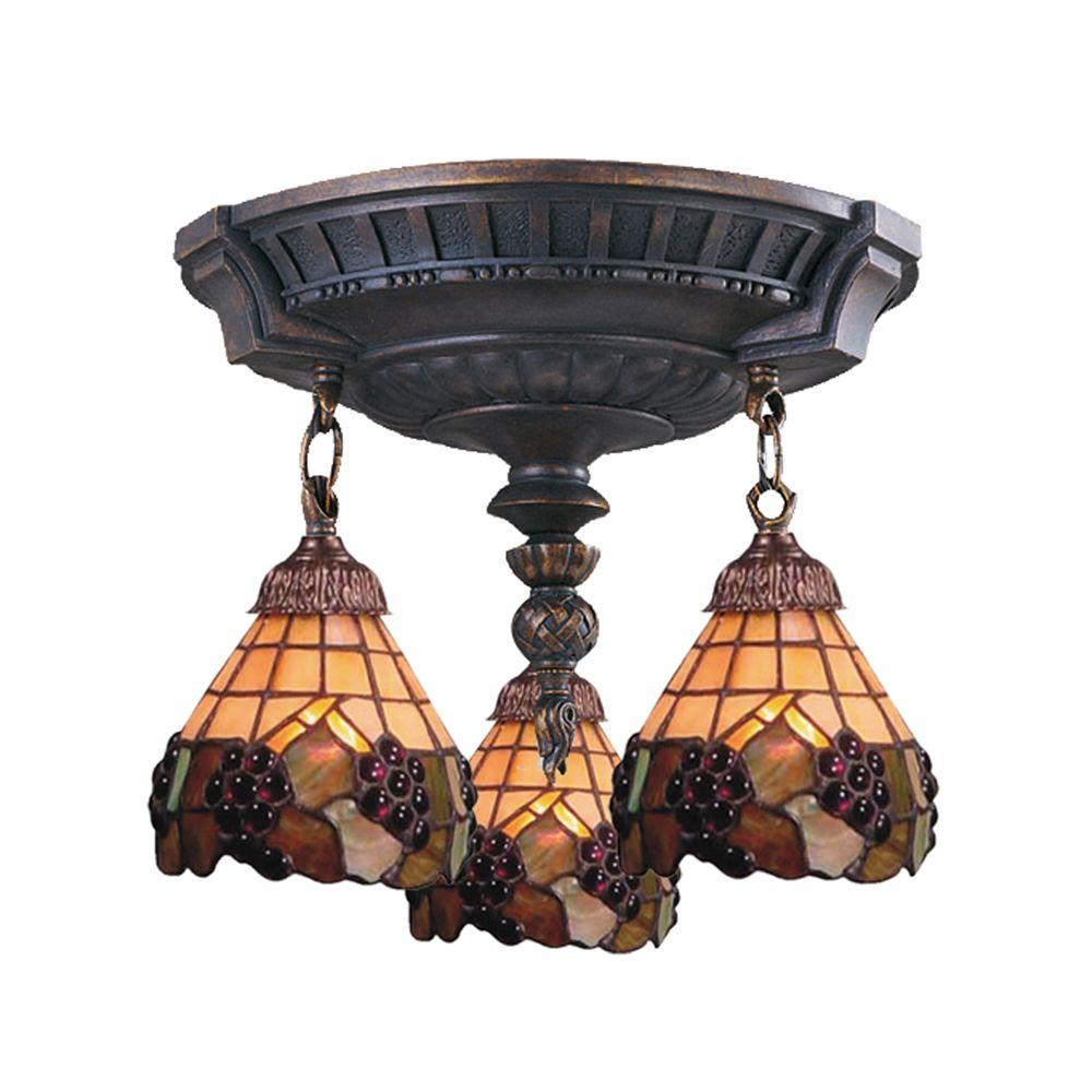 Titan Lighting 3-Light Aged Walnut Ceiling Semi-Flush Mount Light