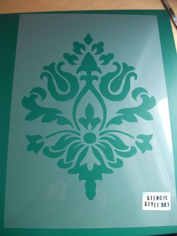 Damask decorating stencil wall fabric furniture damask - Plantillas decorativas pared ...