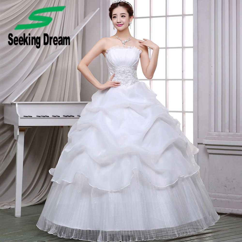 Click to buy ucuc new whitered ball gown dress strapless wedding