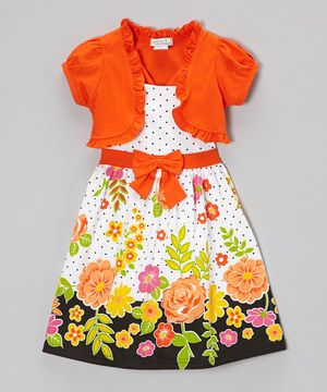 Another great find on #zulily! Orange Floral Polka Dot Dress & Shrug - Infant, Toddler & Girls by Littoe Potatoes #zulilyfinds