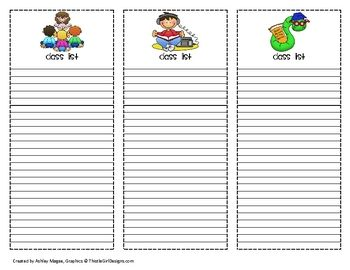 Printable Class Lists So Cute  School Ideas