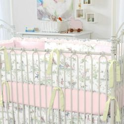 Pink Over the Moon Toile Crib Bumper 16 Panels with Ruffle