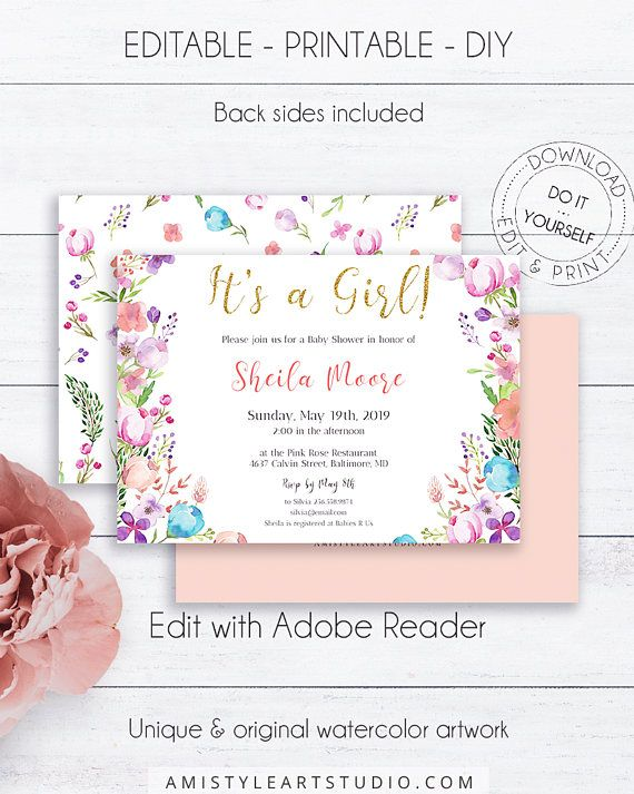 Floral Baby Girl Shower Invitation Template With Vivid And Bright