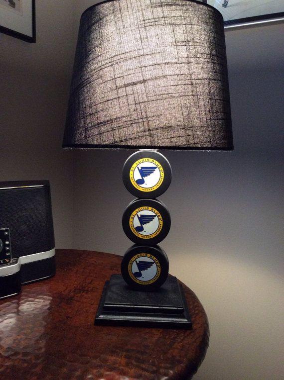 St. Louis Blues Hockey Puck Lamp On Etsy, $65.00