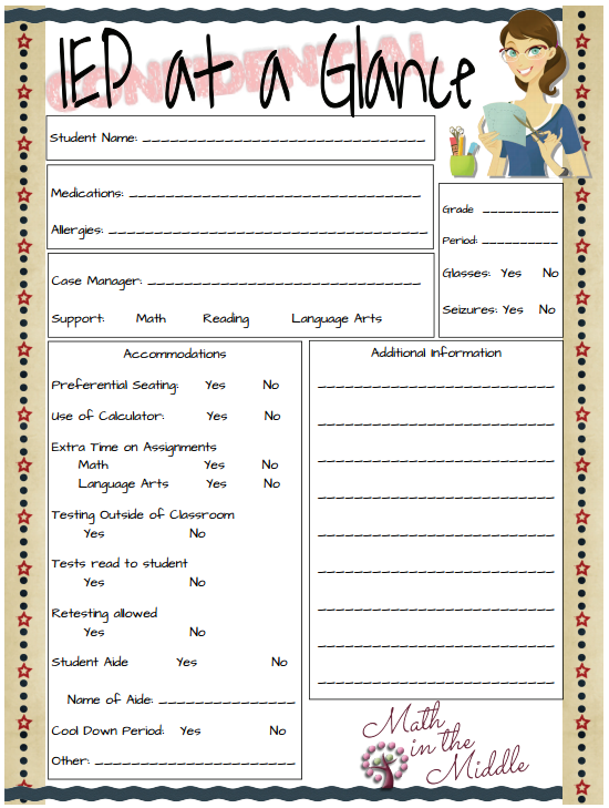 This is a wonderful form that a SLP can take to an IEP meeting and ...