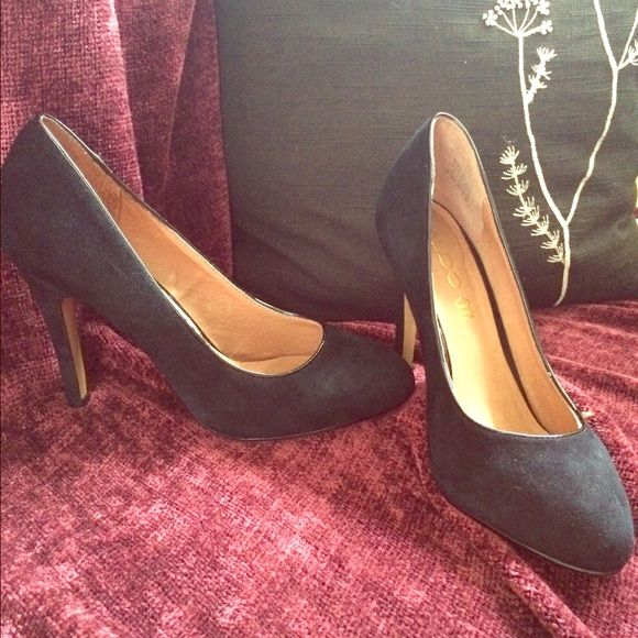 Black Suede Pump These genuine leather/suede black pumps have been worn about 5 times and have no imperfections, scuffs, or stains. They are super comfy have a real leather sole and a patent leather seam around foot opening. They have a 4 inch heel and are totally adorable! ALDO Shoes