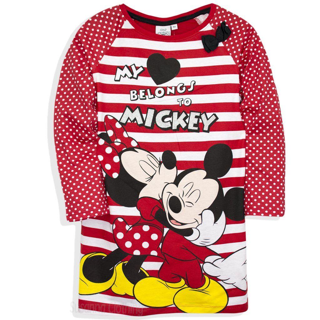 Disney Official Minnie Mickey Mouse Character Girls Short Sleeve 100/% Cotton Nightdress Nightie Pyjamas 2-8 Years