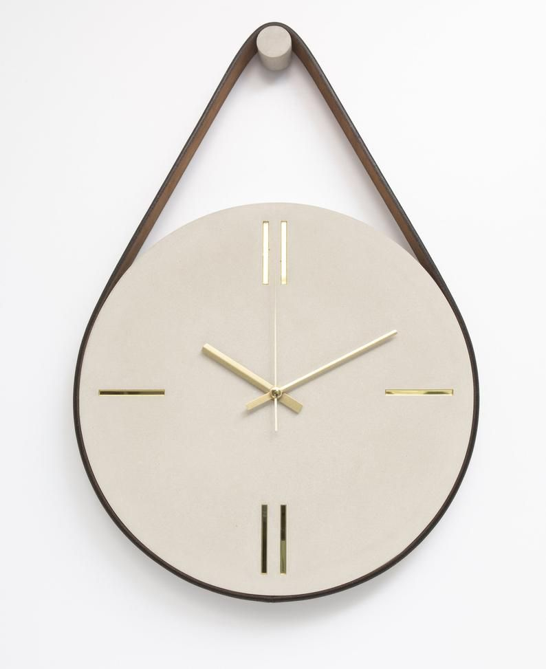 Concrete Wall Clock With Leather Stripe Modern Wall Clock Etsy In 2020 Wall Clock Clock Wall Clock Modern