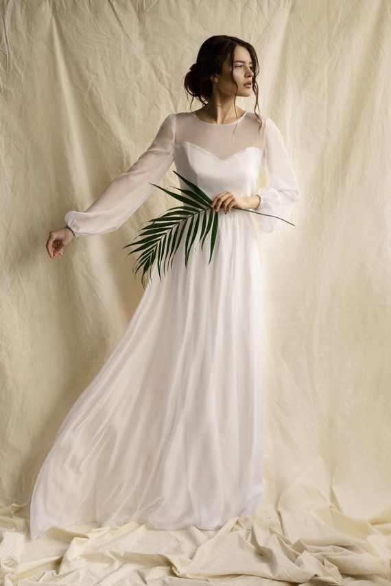 c7a950e1690 long puff sleeve wedding dress simple minimalist wedding dress chiffon white  wedding gown modern boh