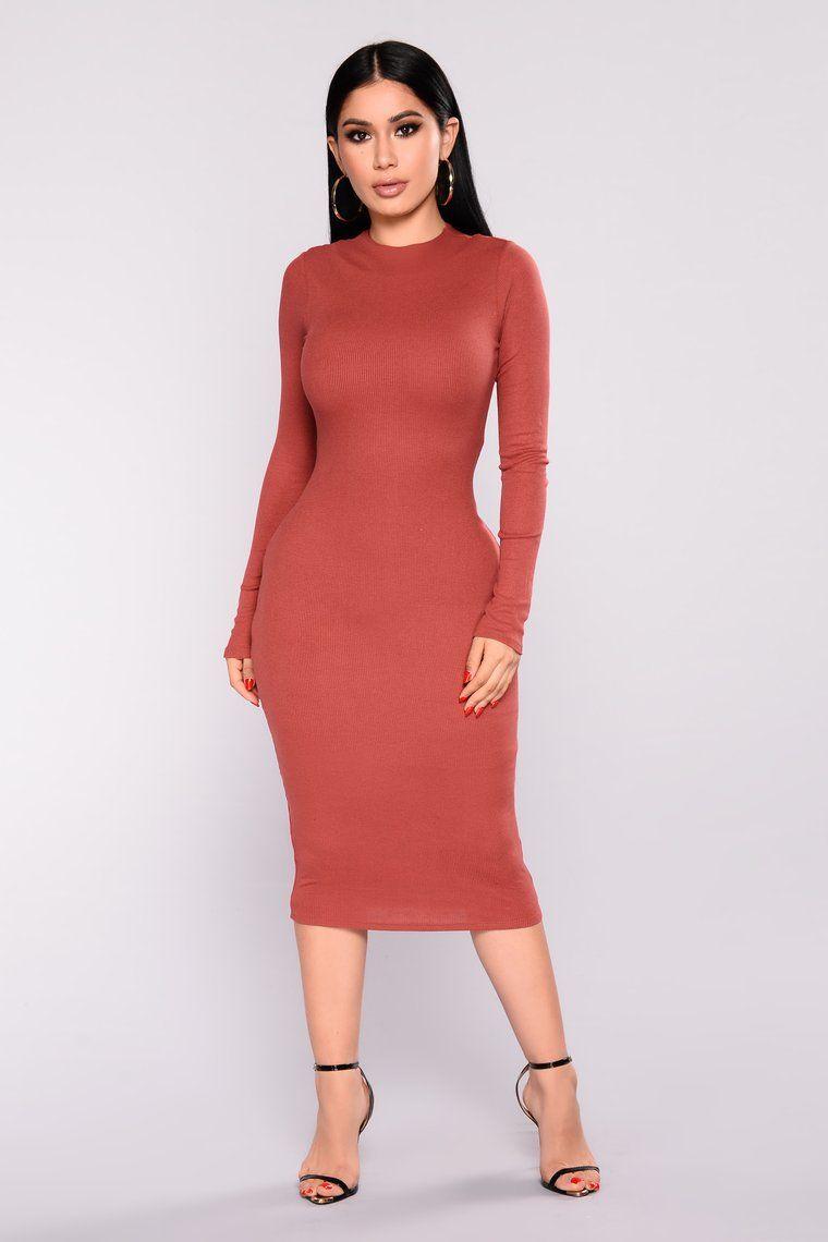 Take Hold Ribbed Dress Rust Rust dress, Ripped dress