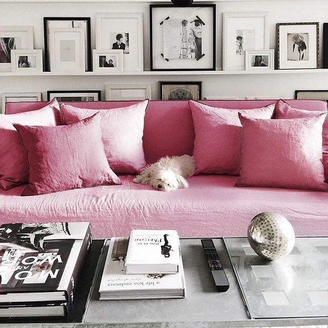 Livingroom Sofa Pink Shelves White Galery Wall Picture | shelf help ...