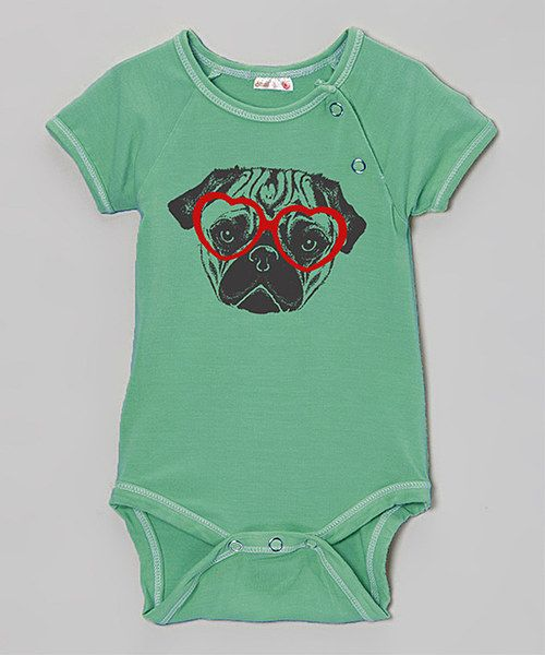 55859279cf0c Look at this Teal Pug Organic Bodysuit - Infant on  zulily today ...